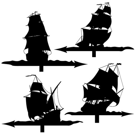 moor: Set vector weather vanes silhouettes (sailing ships of the 17th century).