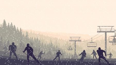 coniferous forest: Horizontal esquiadores ilustraci�n vectorial en colinas de bosques de con�feras en las nevadas de la puesta del sol.