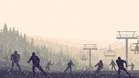 skiers: Horizontal vector illustration skiers in hills of coniferous forest at snowfall sunset.