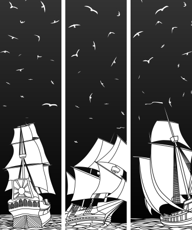Vector vertical black and white banners sailing ships with birds
