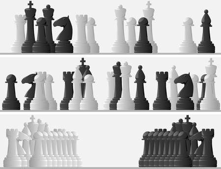 Set horizontal banners of vector black and white pieces in chess game. Vector