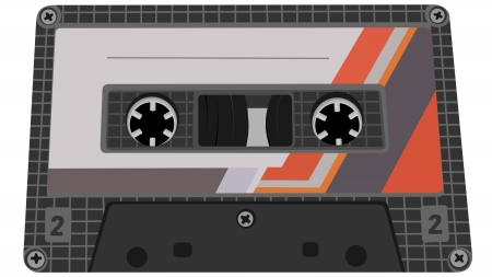 audiotape: Vector illustration of cassette from tape recorder with label.