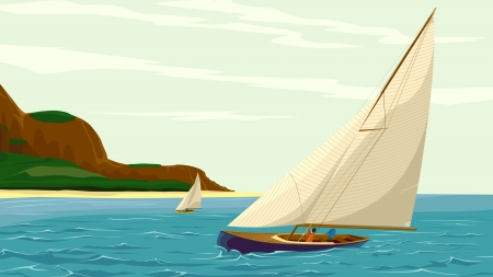 moor: Vector illustration of sport sail yacht against island in cartoon style.