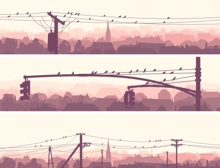 Horizontale Banner des alten historischen europäischen Stadt mit Vögeln auf Stromleitung in hellrosa Ton. Vektorgrafik