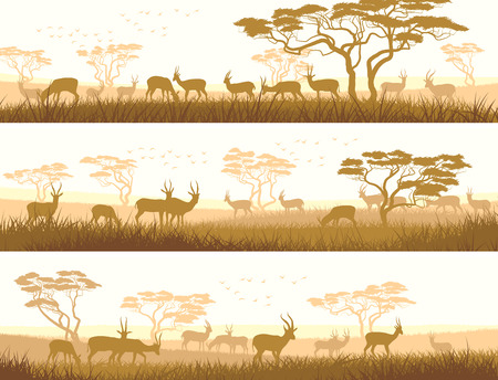 steppe: Horizontal abstract banners of herd antelope in African savanna with trees. Illustration