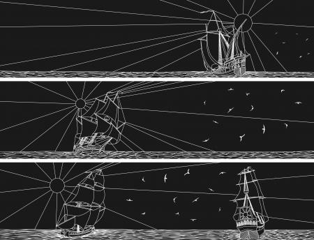 caravelle: Résumé des bannières horizontales noires et blanches voiliers avec des oiseaux dans le style de ligne.