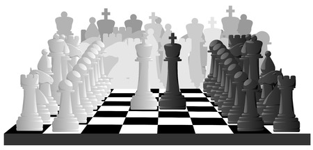 shah: Horizontal vector black and white illustration of chess game.