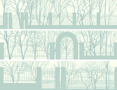 wicket gate: Horizontal banners of winter park with snowy tree and decorative fence in yellow green tone. Illustration
