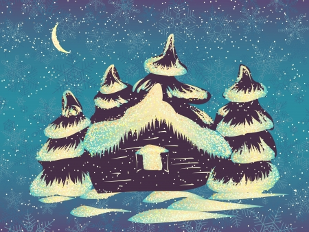 coldness: illustration of winter snowy small house with trees and space for text.