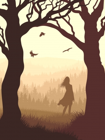 Vector illustration of tree trunks within wood with silhouette girl and meadow on edge of forest in foggy morning. Illustration