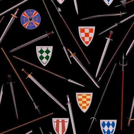 edad media: Fondo inconsútil diferentes armas de la Edad Media (lanzas, espadas, escudos). Vectores