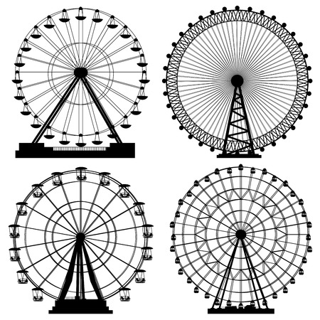 Set of vector silhouettes Ferris Wheel from amusement park. Stock Illustratie