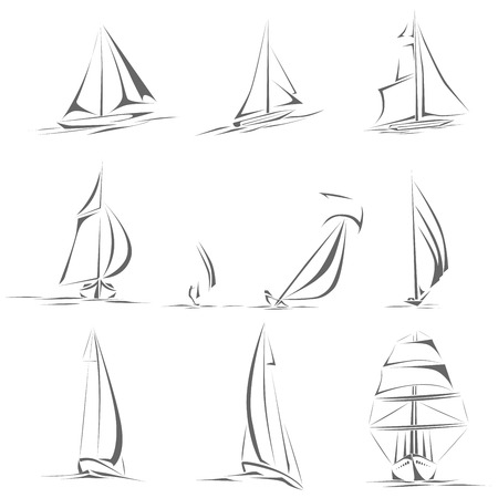 rigging: Set of different sailing ships (boat) icon in line style