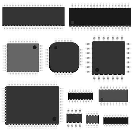 Set of simple vector untitled microchip (top view).