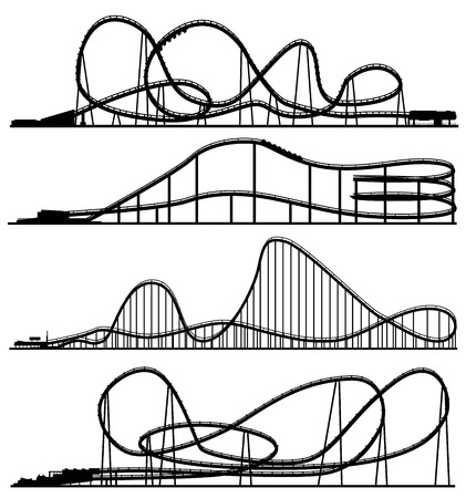 Set of vector silhouettes roller-coaster from amusement park. Stock Illustratie