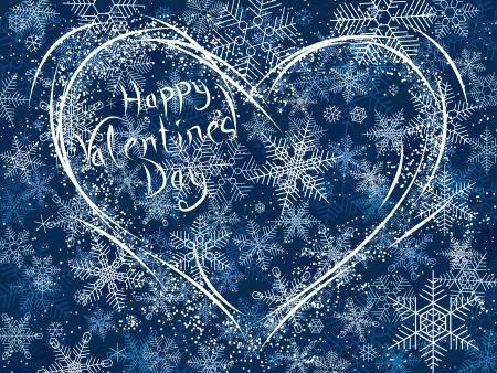 Vector card illustration of winter Valentines heart. Vector