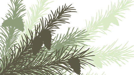 Horizontal abstract illustration of spruce branch with cones in green tone.