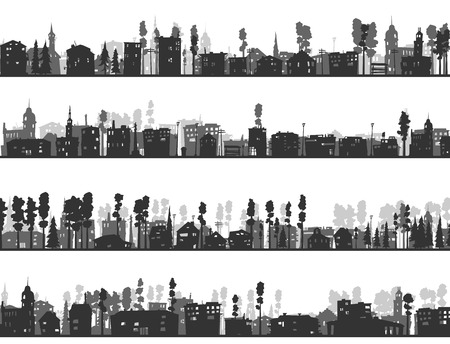 downtown district: Horizontal silhouettes of childish abstract downtown district.