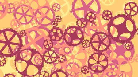 dag: Vector background illustration of gear wheels in red tone.