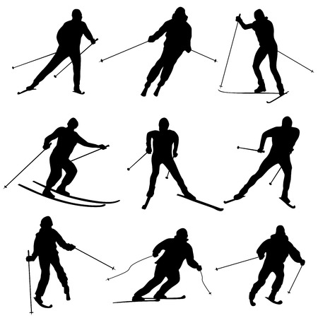 skiers: Set of vector simple silhouettes skiers.