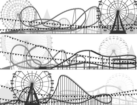 roller coaster: Set of banners of roller-coaster and Ferris Wheel from amusement park.