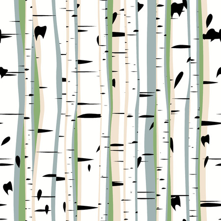 Vector seamless background of dense forest birches.