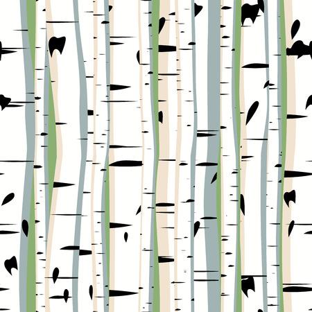작은 숲: 울창한 숲의 자작 나무의 원활한 배경 벡터.