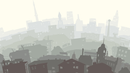 haze: Vector abstract illustration of childish downtown city with roofs, windows in yellow green tone.
