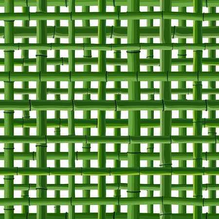 stockade: Seamless background of green bamboo square grid on white. Illustration