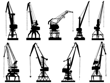 construction crane: Set vector silhouettes of cargo crane tower, isolated on white.