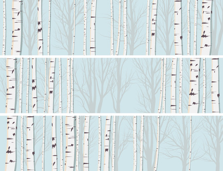 Set horizontal abstract banners of birch trunks forest.