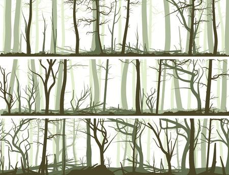 많은 나무 줄기 (침엽수, 죽은 나무와 낙엽 숲)와 벡터 가로 배너를 설정합니다.