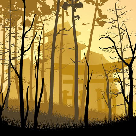 chateau: Vector square art illustration of forest trees on background of castle in Asian style. Illustration
