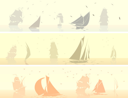 keel: Set horizontal banners of sailing ships with birds in pale morning light.