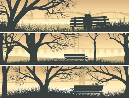 overlooking: Set vector horizontal banners trees, meadow and bench overlooking the bay bridge at sunset.