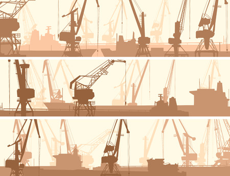 derrick: Set vector horizontal banners of port with cargo crane tower and tanker.