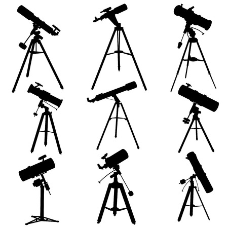observational: Set vector silhouettes of telescopes, isolated on white. Illustration