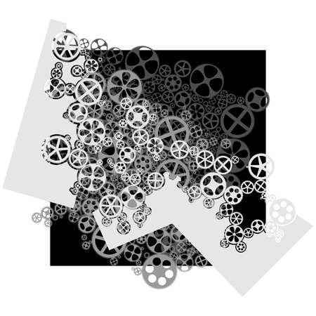 dag: abstract composition illustration of gear wheels in black and white tone. Illustration