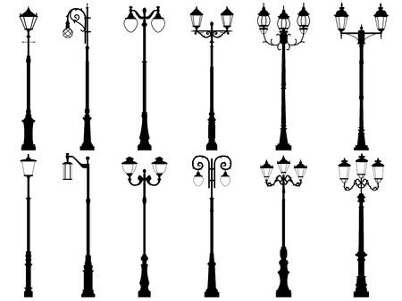 lamp posts: silhouettes of vintage artistic decorative lamppost, isolated on white.