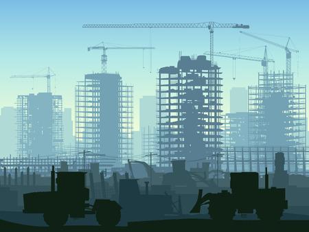 chantier de construction de grues et de gratte-ciel avec des tracteurs, des bulldozers, des pelles et niveleuse dans le ton bleu.