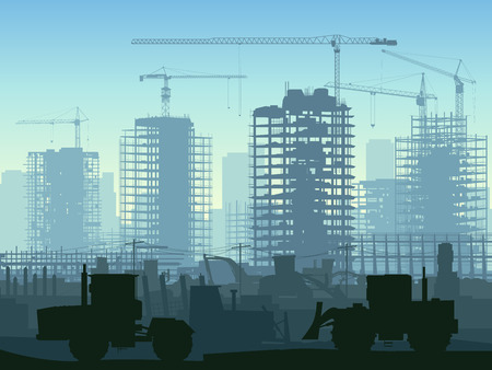 construction site with cranes and skyscraper with tractors, bulldozers, excavators and grader in blue tone. Vector