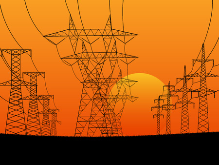 transmission line: illustration with high voltage electric transmission line tower at sunset. Illustration