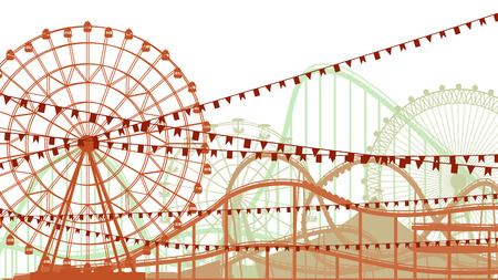 switchback: illustration of roller-coaster and Ferris Wheel from amusement park.