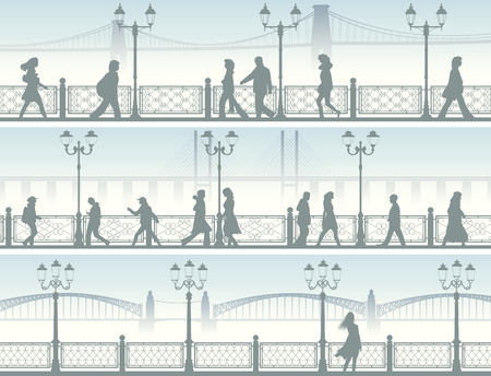 Set of horizontal banners of walking people along embankment with fence and streetlights.