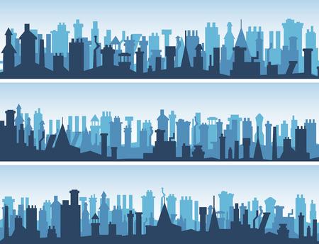 evropský: Vector horizontální abstraktní transparenty starých historických evropských měst střechy s mnoha komínů. Ilustrace