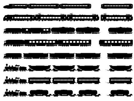 Conjunto de vectores de siluetas horizontales de trenes, locomotoras con diferentes vagones.