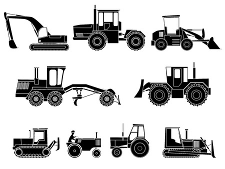 wheel loader: Set simple icon of tractors, bulldozers, excavators and grader in monochrome tone. Illustration