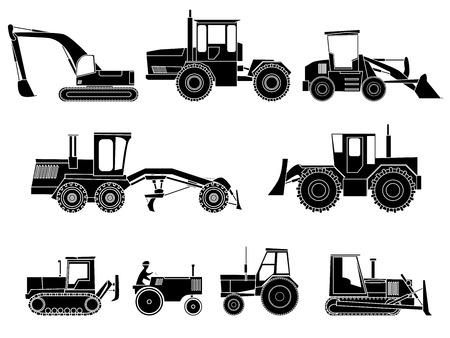 grader: Set simple icon of tractors, bulldozers, excavators and grader in monochrome tone. Illustration