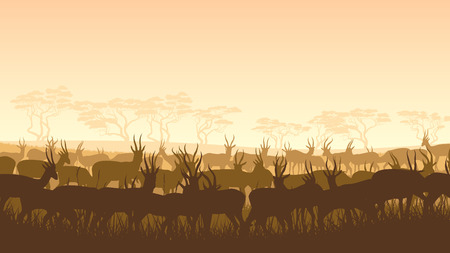 Horizontal illustration of herd antelope in African savanna with trees. Vector