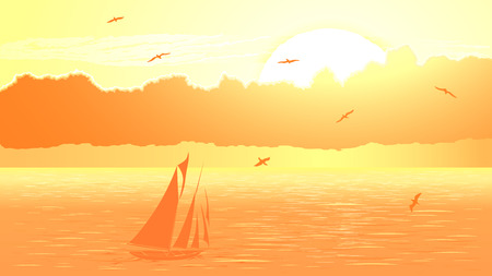 Vector panorama illustration of sunset in ocean with yacht, birds and clouds in yellow tone. Illustration